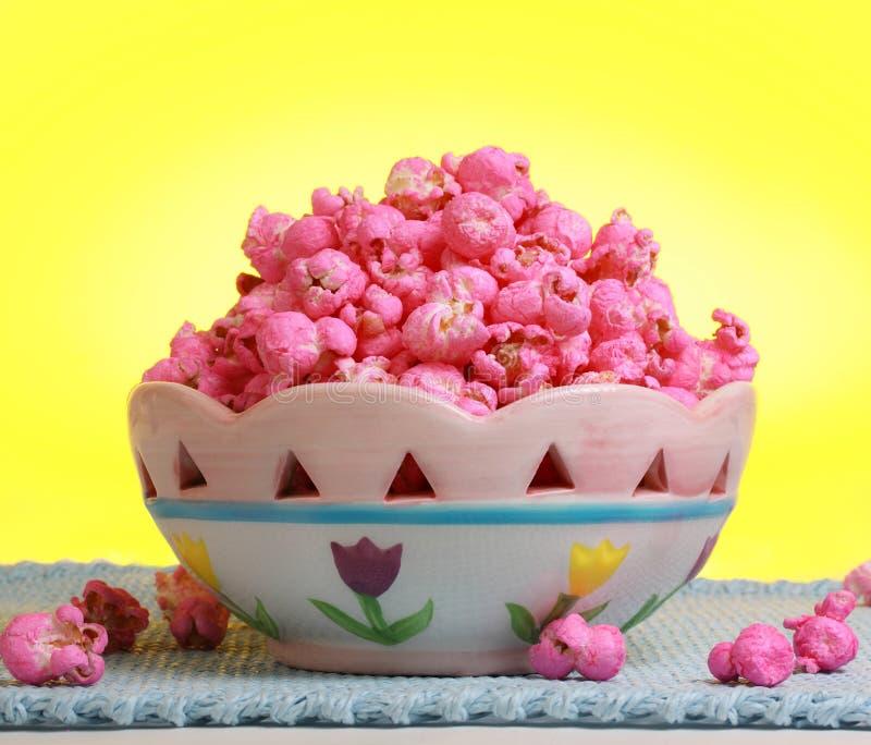 Bowl of Pink popcorn royalty free stock image