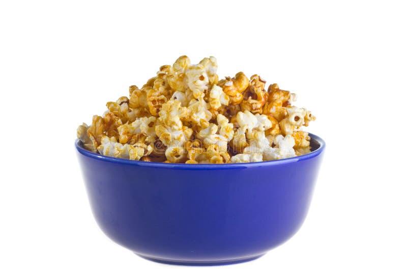 Bowl of popcorn. Isolated on white background royalty free stock photos