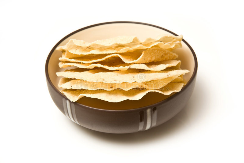 Bowl of poppadoms royalty free stock photography