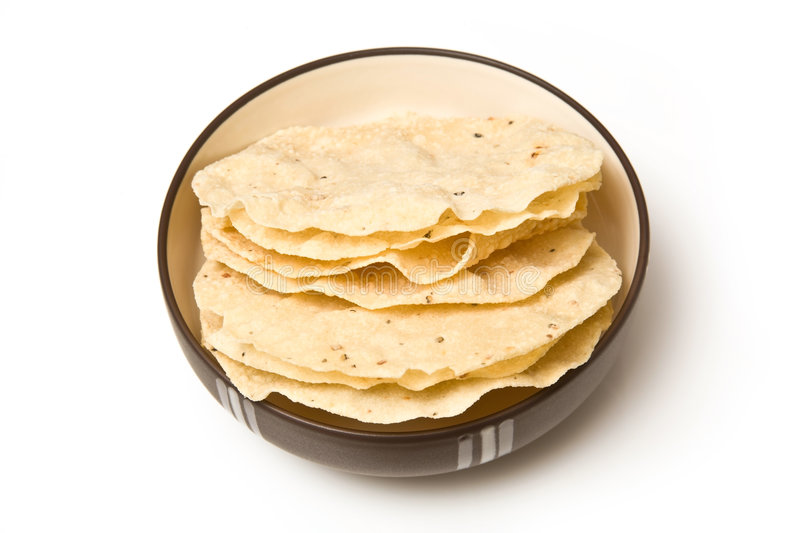 Bowl of poppadoms royalty free stock photos