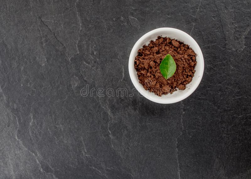 Bowl of powder cocoa. Top view, gray stone background royalty free stock photography