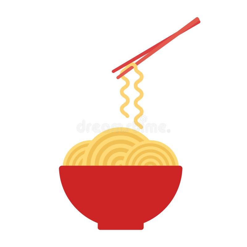 Bowl with ramen noodles. Chopsticks holding noodle. vector illustration