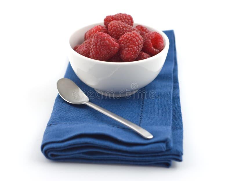 Bowl Of Raspberries Stock Images