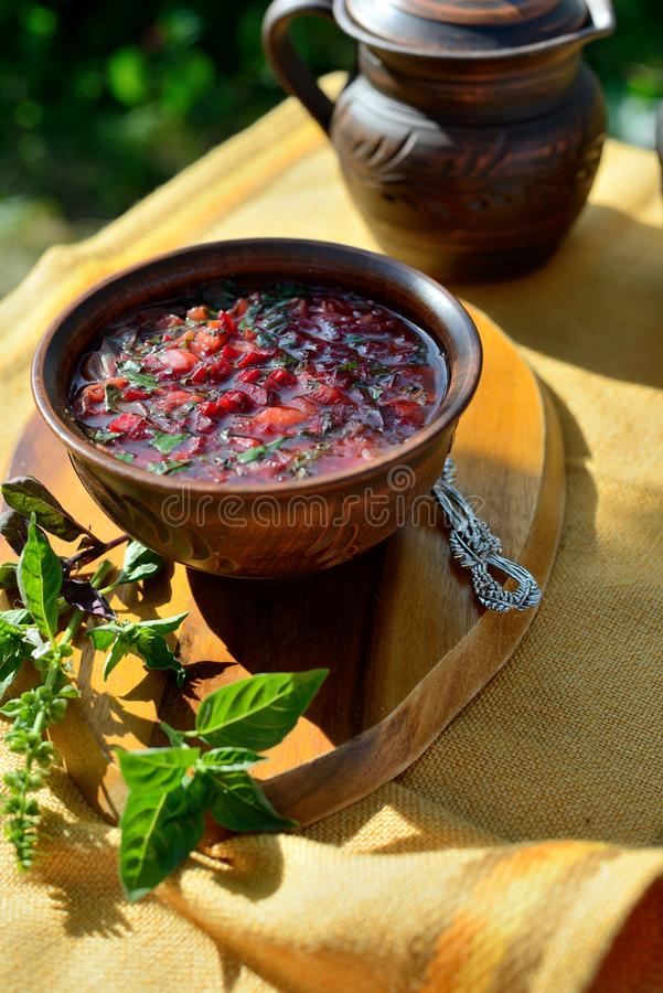 Red soup `borscht` royalty free stock image