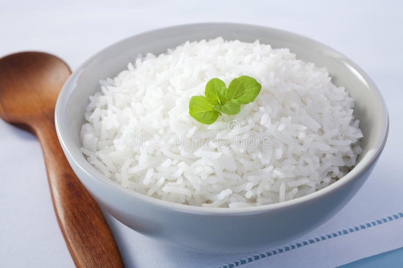 Bowl of Rice with Mint Garnish. A bowl of basmati rice garnished with mint royalty free stock images
