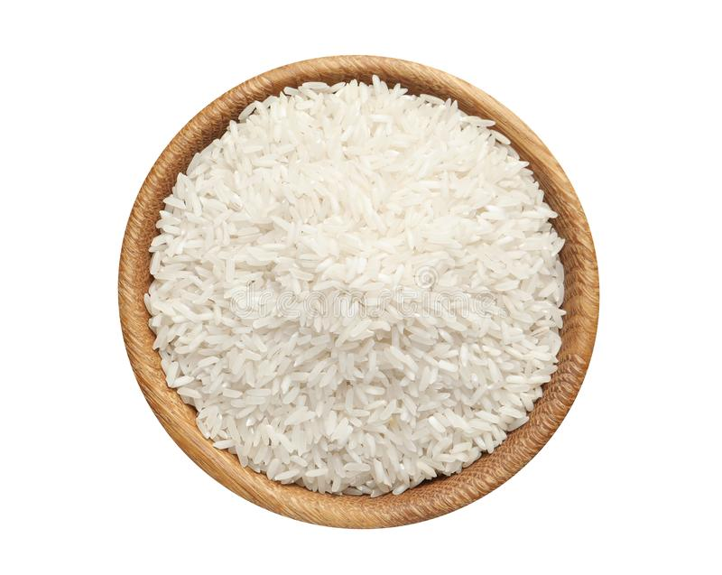 Bowl with rice on white background, top view. Natural food royalty free stock photo