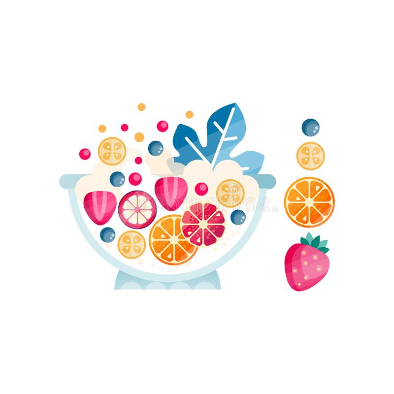 Bowl with ripe fruits and berries. Delicious and healthy salad from organic ingredients. Abstract flat vector icon with vector illustration