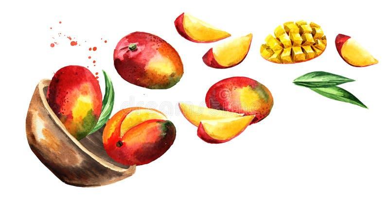 Bowl with ripe mango. Hand drawn horizontal watercolor illustration, isolated on white background. stock illustration