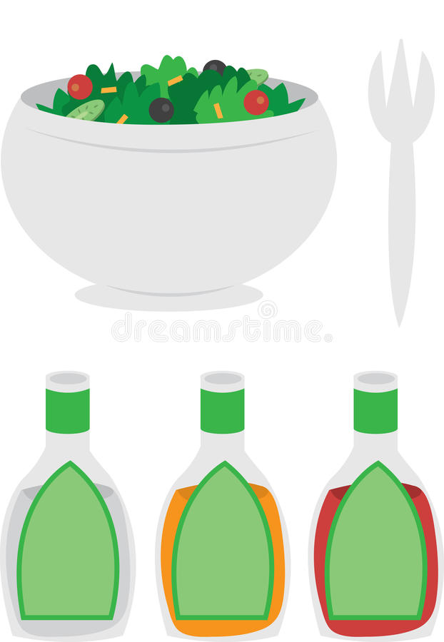 Bowl of Salad. Cartoon bowl of salad with dressing and fork stock illustration