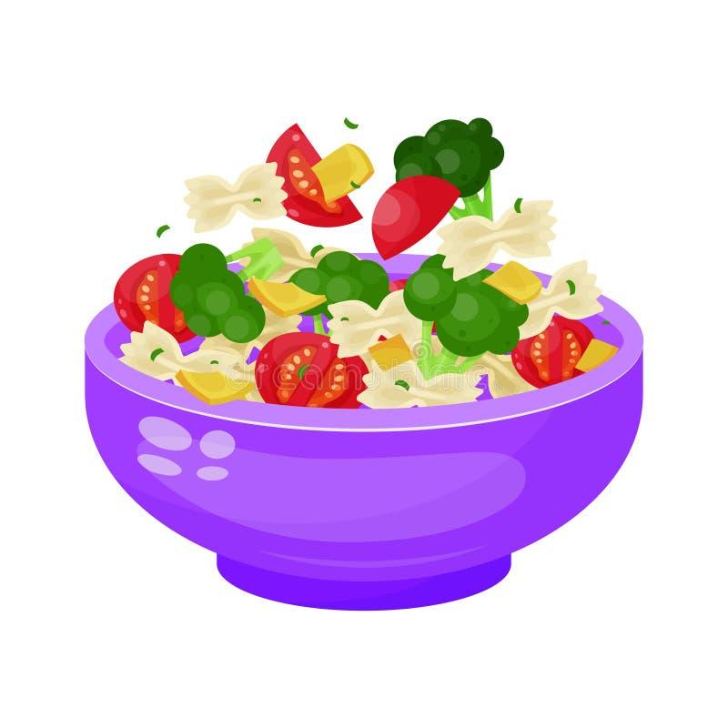 Bowl of salad, dieting and vegetarian appetizer stock illustration