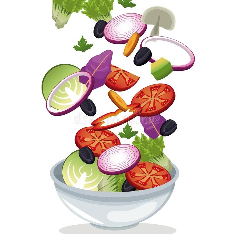 Bowl salad vegetables fresh vitamins. Vector illustration eps 10 vector illustration