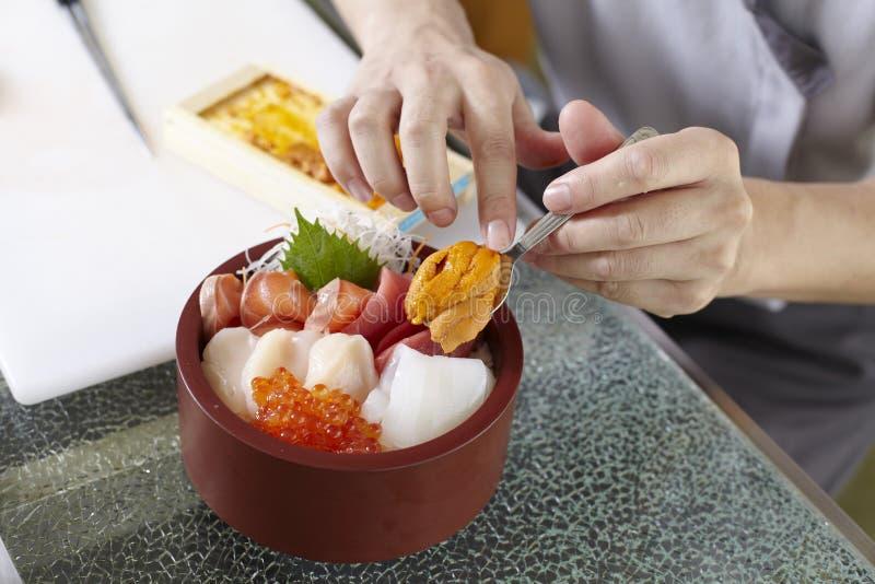 Bowl of Sashimi Don stock photo