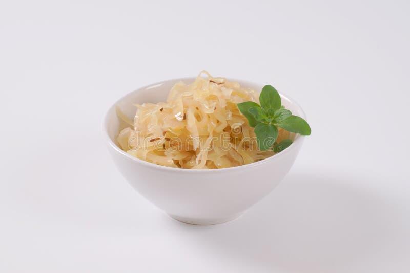 Bowl of sauerkraut with caraway stock photography