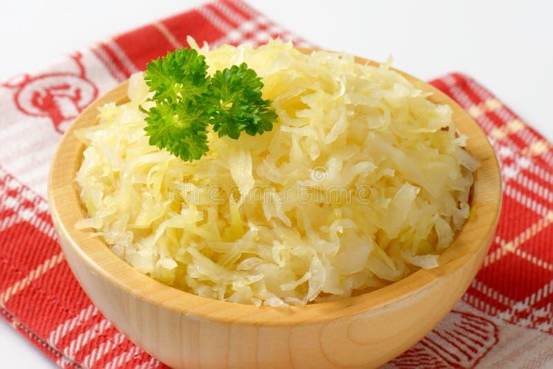 Bowl of sauerkraut royalty free stock photo