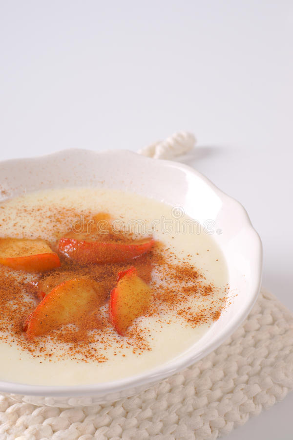 Bowl of semolina pudding stock photo