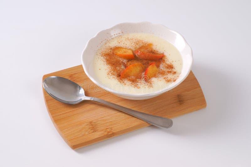Bowl of semolina pudding stock photography