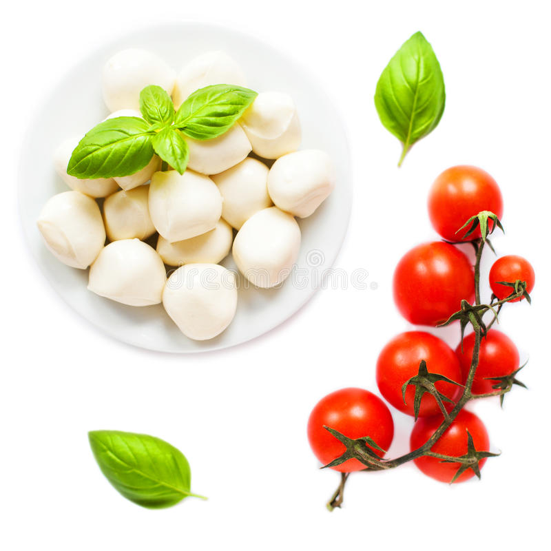 Bowl of small mozzarella balls isolated on white background with royalty free stock images