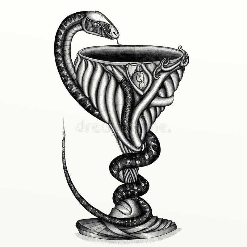 Bowl With A Snake Medical Symbol Stock Illustration Illustration