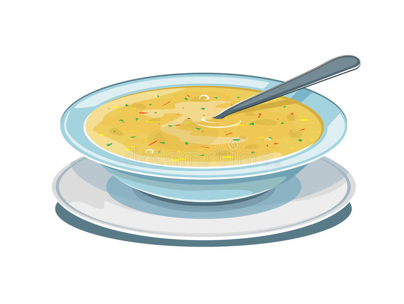 Bowl of soup. With spoon, isolated