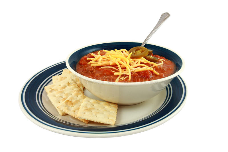 Bowl Of Spicy Chili With Cheese And Crackers royalty free stock photos