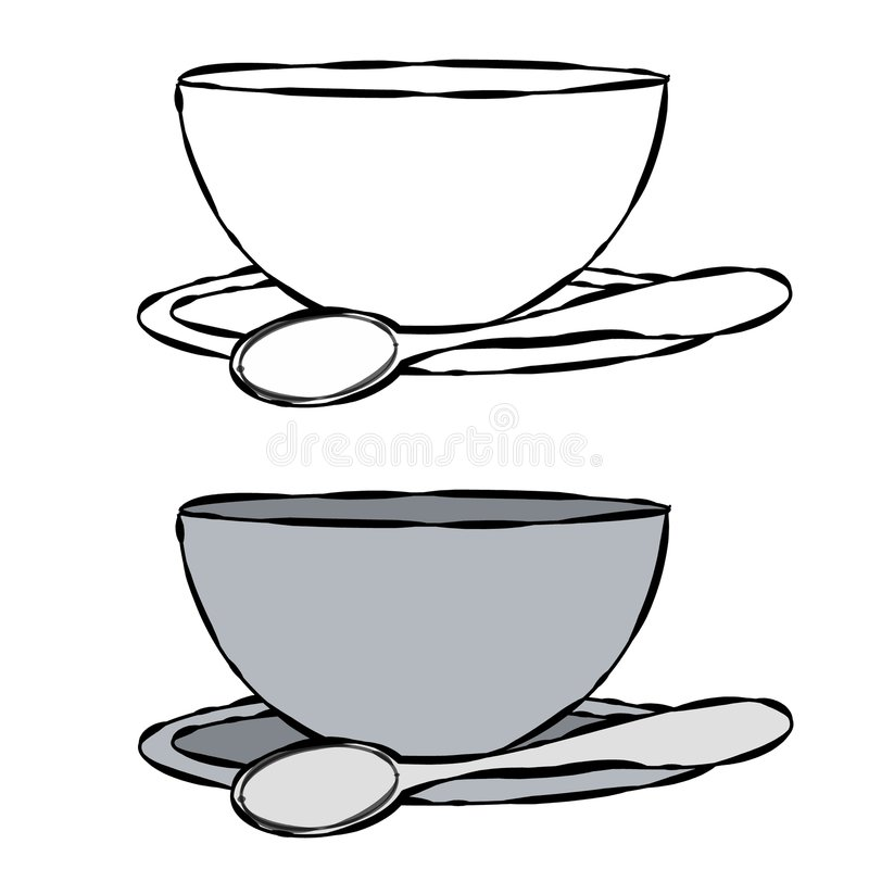 Bowl and Spoon Line Art. A simple illustration of a bowl and spoon in black and white and plain gray tones stock illustration