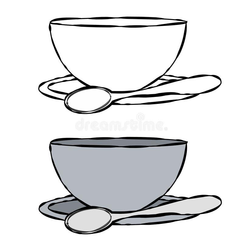 Bowl and Spoon Line Art stock illustration. Illustration ...