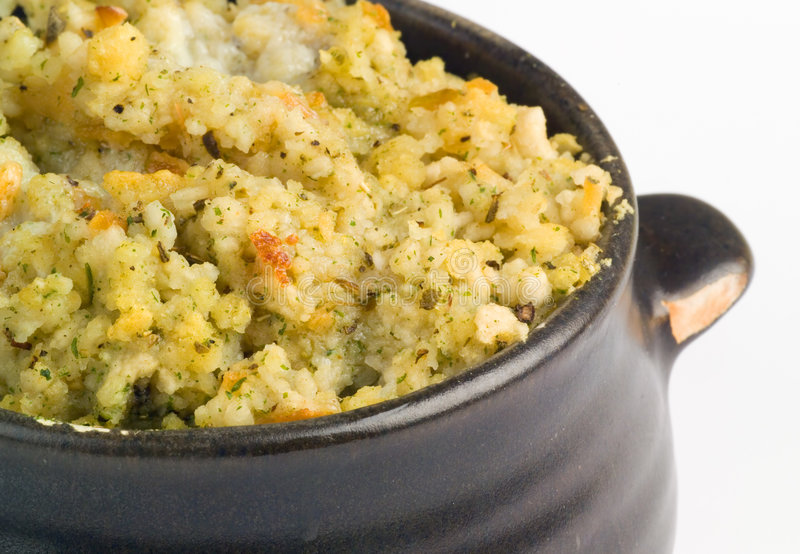 Bowl of Stuffing for a Chicken stock photography