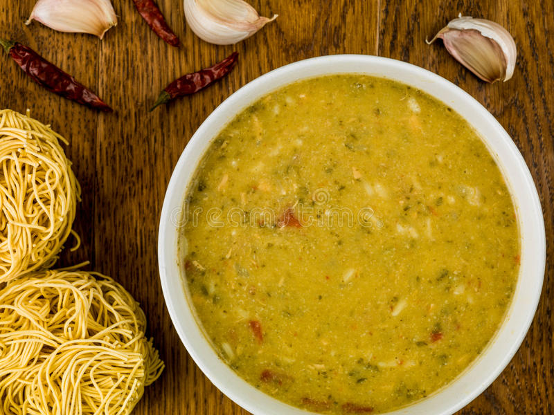 Bowl of Thai Green Chicken Curry Soup royalty free stock image