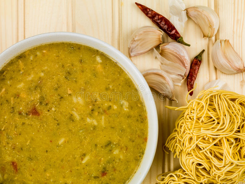 Bowl of Thai Green Chicken Curry Soup royalty free stock images