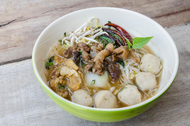 Bowl of thai style beef noodle soup,Boat Noodle stock photos