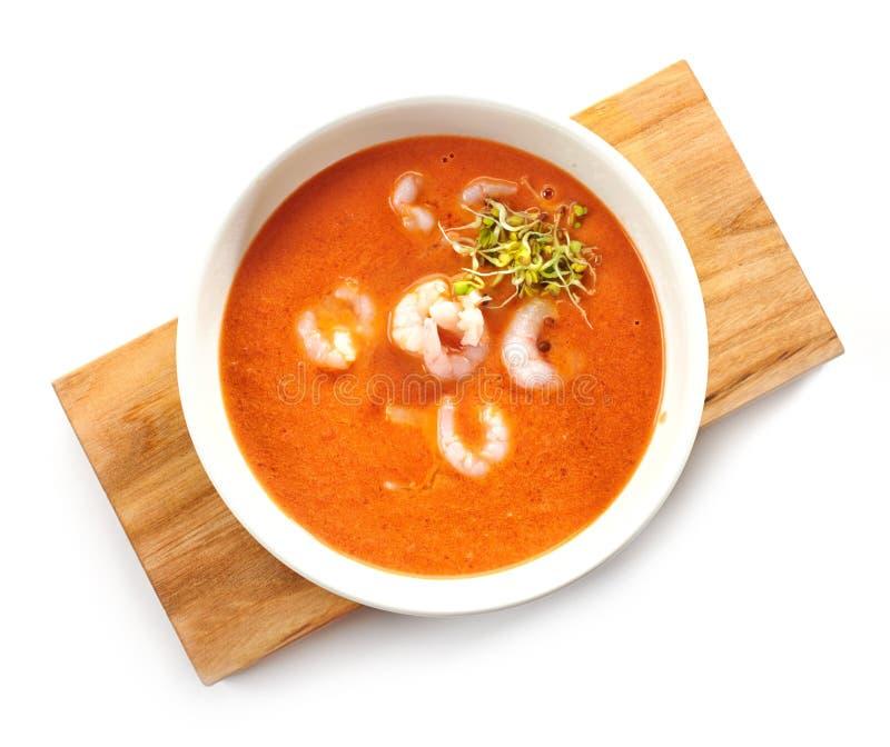 Bowl of tomato cream soup stock image