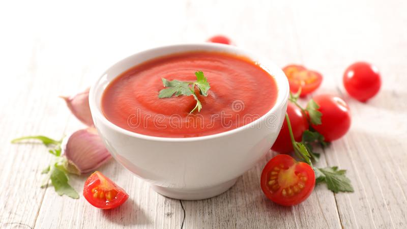 Bowl of tomato soup royalty free stock photography