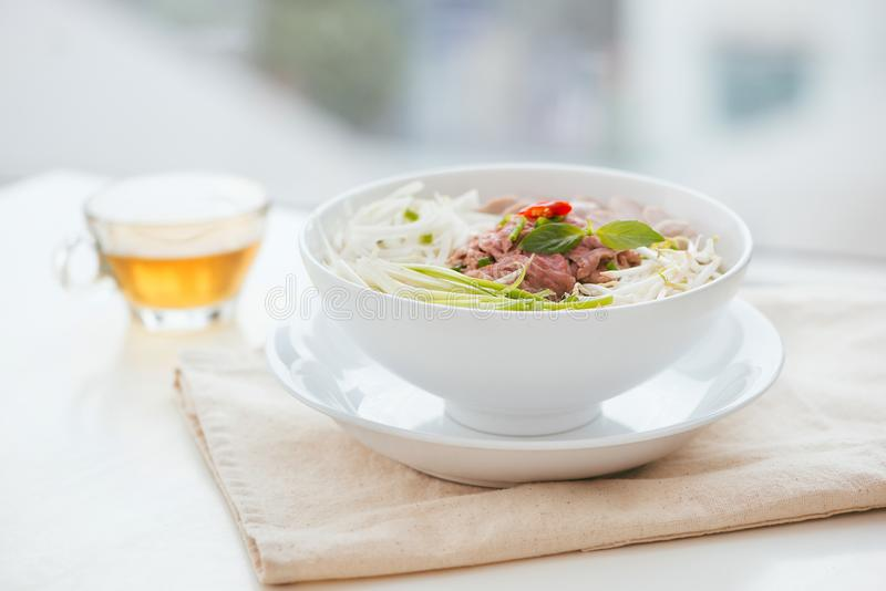 A bowl of traditional Vietnamese Pho noodle royalty free stock photos