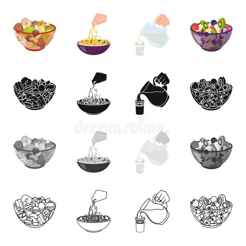 A bowl with various kinds of nuts, food fruit salad. pasta, jug and a glass of milk. Fruit and dessert set collection stock illustration