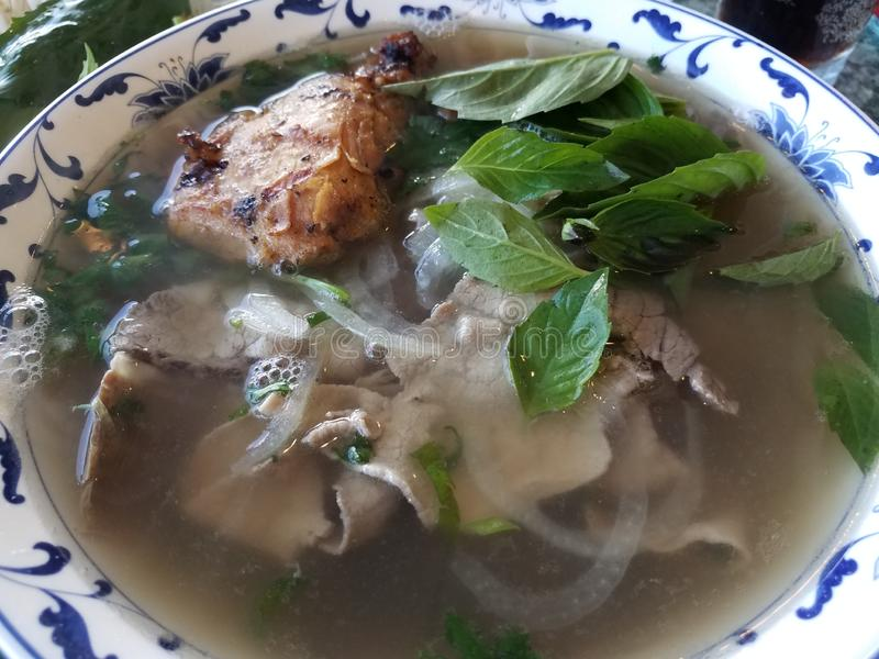 Bowl of Vietnamese soup with beef, chicken, and vegetables. Bowl of Vietnamese soup with beef, chicken, and onion and vegetables royalty free stock photography