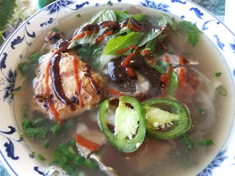 Bowl of Vietnamese soup with beef, chicken, and vegetables and peppers. Bowl of Vietnamese soup with beef, chicken, and vegetables with sauces and peppers stock image
