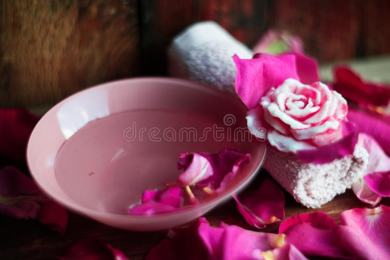 Great Download Bowl With Water And Rose Petals On Wooden Table Stock Image    Image Of Bath