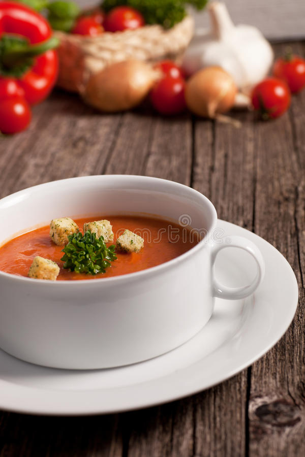 Bowl of wholesome vegetable soup stock photos