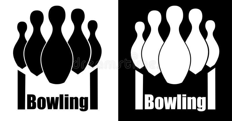 Bowla bunkar med en vanlig grund och gränder som bowlar minimalistic logo stock illustrationer