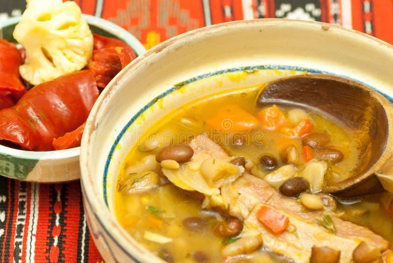 Bowla med läcker bönasoppa med rökt kött och sorterade knipor åt sidan royaltyfria bilder