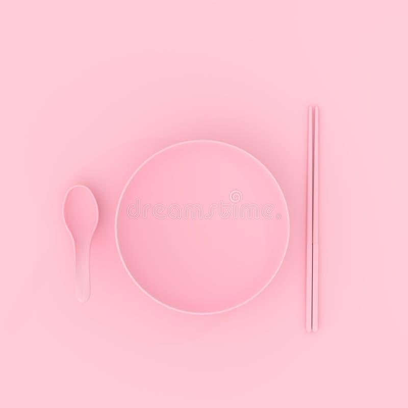 Bowla med rosa minsta begrepp för sked och för pinnar vektor illustrationer