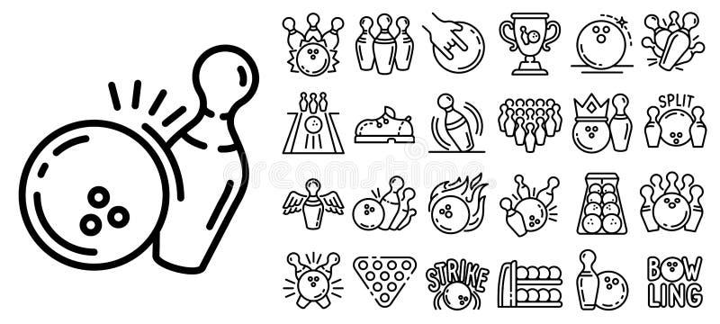 Bowla symbolsuppsättningen, översiktsstil stock illustrationer