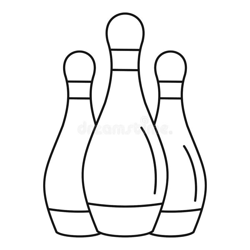 Bowla uppsättningbensymbolen, översiktsstil stock illustrationer