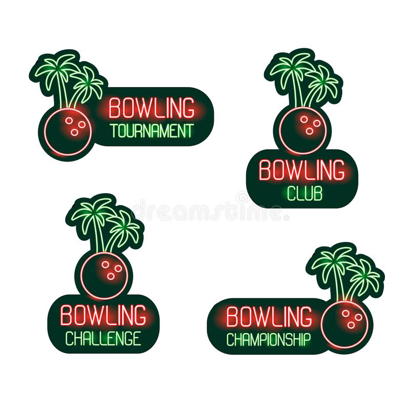 Bowla uppsättningen av neontecken klubba, turnering, utmaning, mästerskap Tropisk samling för vektor av gröna och röda symboler,  arkivfoton