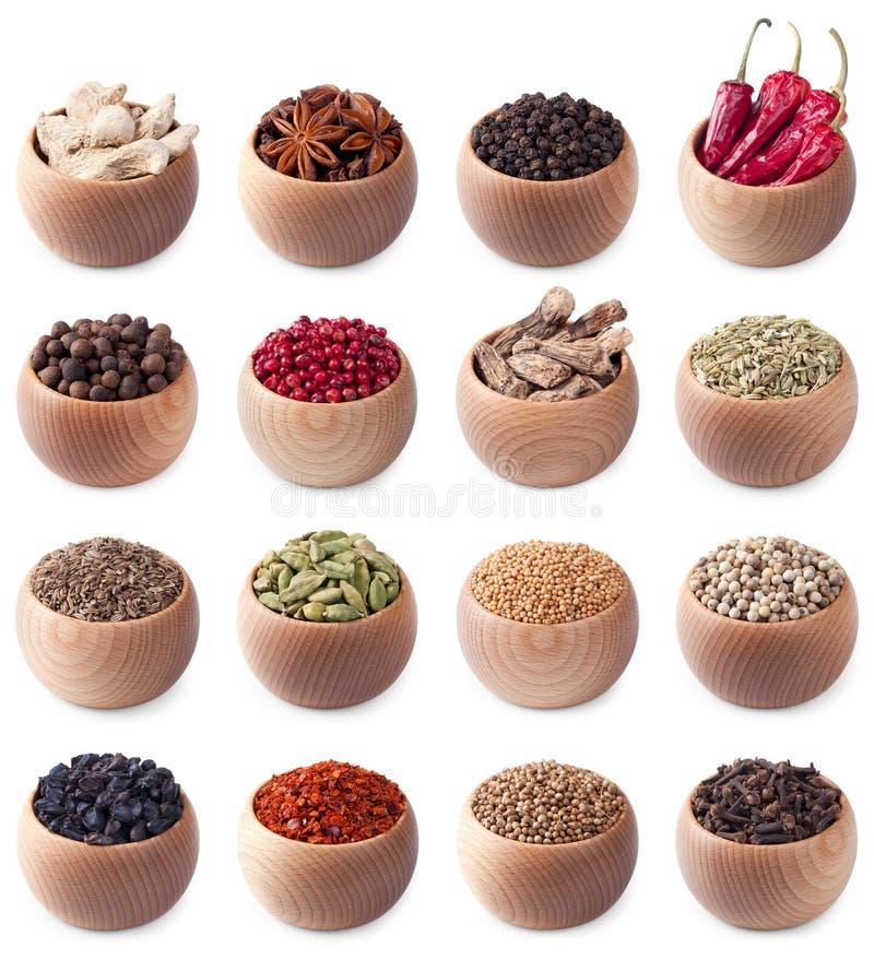 bowlar träolika kryddor för den fulla seten arkivfoton