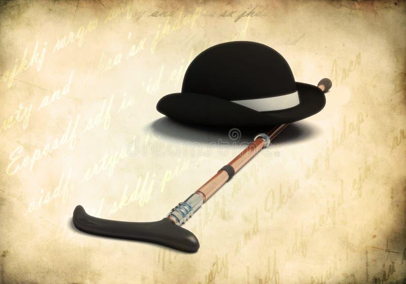Bowler cap and cane