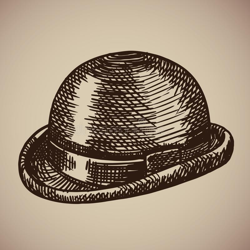 Bowler engraving. Retro clothing began the twentieth century. stock illustration