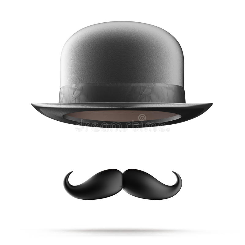 Free Bowler Hat And Mustaches Royalty Free Stock Photography - 28993237