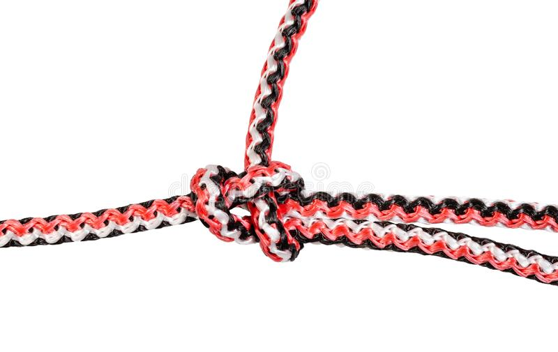 bowline knot close up tied on synthetic rope stock photos