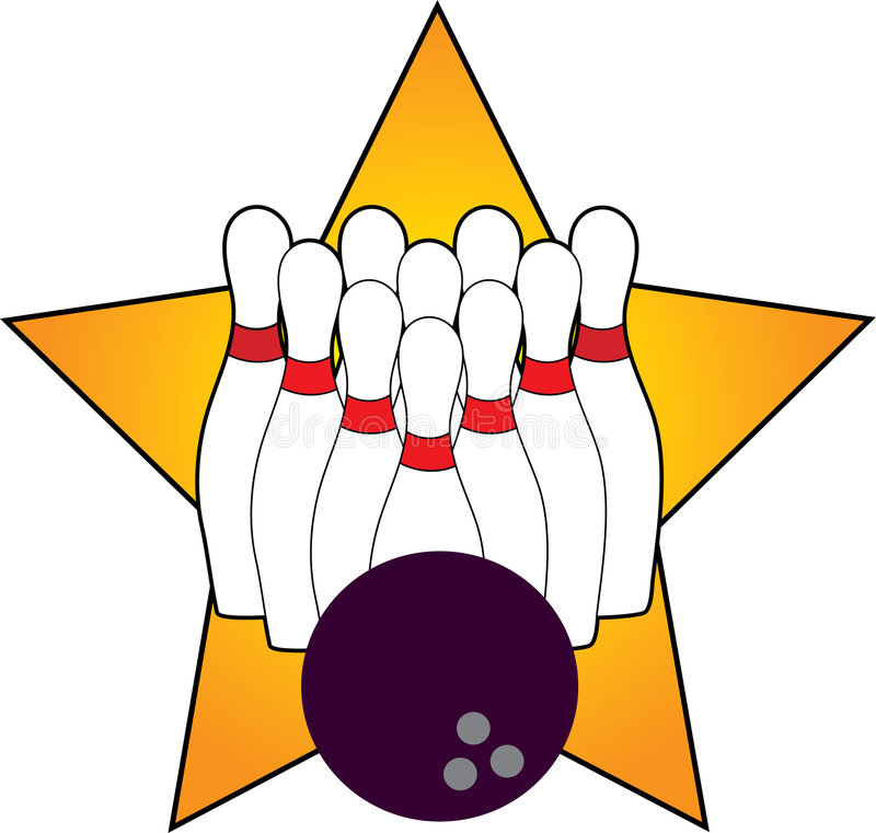 Bowling. Pins and Ball with Star stock illustration